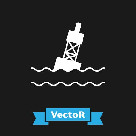 White Floating buoy on the sea icon isolated on black background. Vector Illustration