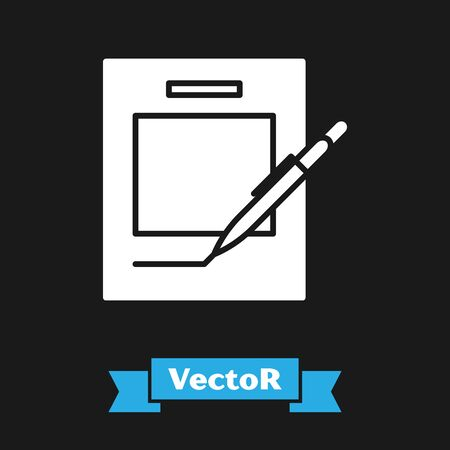 White Blank notebook and pen icon isolated on black background. Paper and pen. Vector Illustration 向量圖像