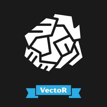 White Crumpled paper ball icon isolated on black background. Vector Illustration Stock Illustratie