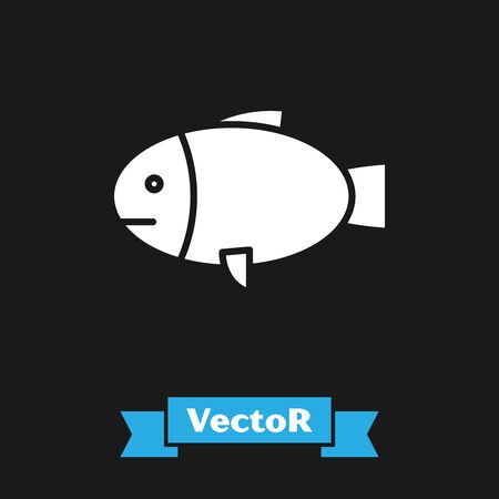 White Fish icon isolated on black background. Vector Illustration