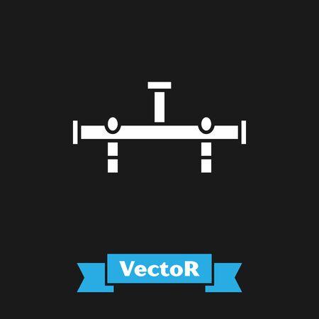 White Manifold icon isolated on black background. Vector Illustration Ilustrace