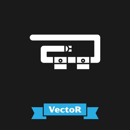 White Diving belt icon isolated on black background. Scuba gear. Diving underwater equipment. Vector Illustration