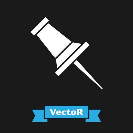 White Push pin icon isolated on black background. Thumbtacks sign. Vector Illustration 版權商用圖片 - 133342940