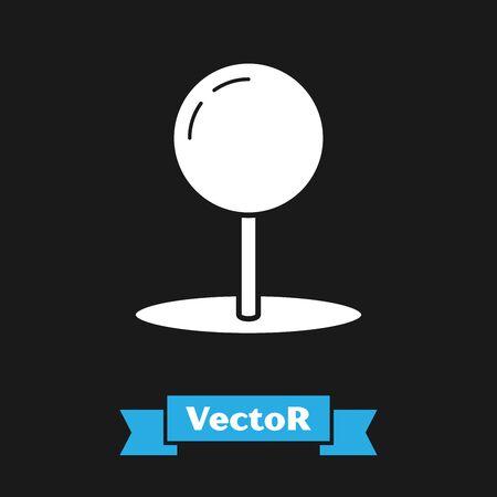White Push pin icon isolated on black background. Thumbtacks sign. Vector Illustration