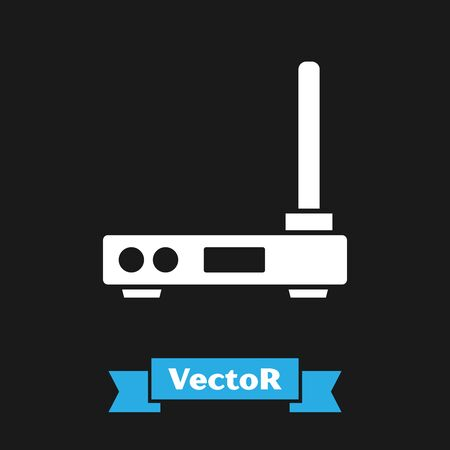 White Router and wifi signal symbol icon isolated on black background. Wireless   modem router. Computer technology internet. Vector Illustration