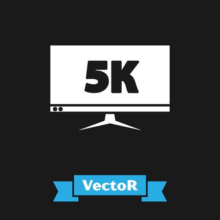 White Computer PC monitor display with 5k video technology icon isolated on black background. Vector Illustration