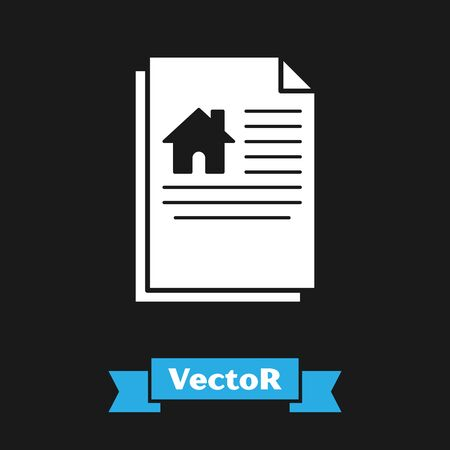 White House contract icon isolated on black background. Contract creation service, document formation, application form composition. Vector Illustration Stock Illustratie