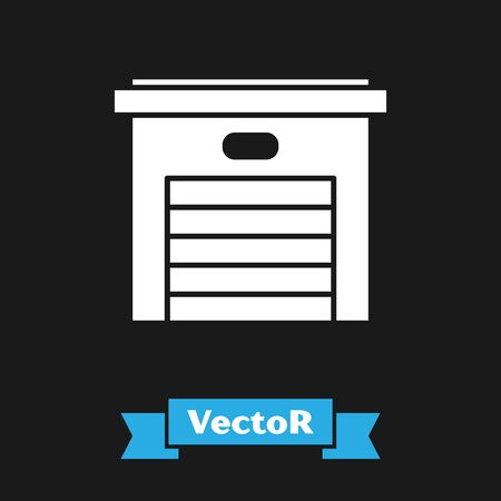 White Garage icon isolated on black background. Vector Illustration