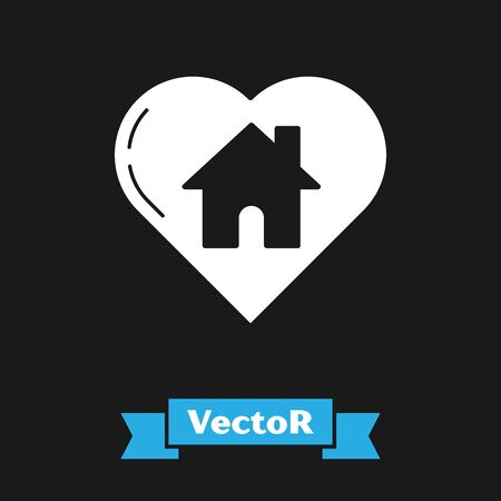 White House with heart shape icon isolated on black background. Love home symbol. Family, real estate and realty. Vector Illustration