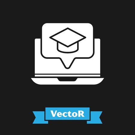 White Graduation cap on screen laptop icon isolated on black background. Online learning or e-learning concept. Vector Illustration  イラスト・ベクター素材