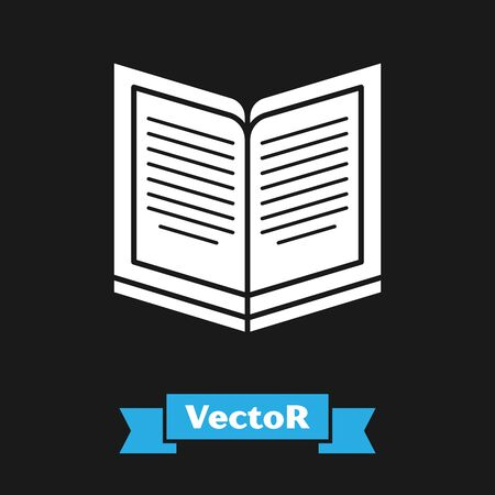 White Open book icon isolated on black background. Vector Illustration