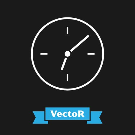 White Clock icon isolated on black background. Time symbol. Vector Illustration