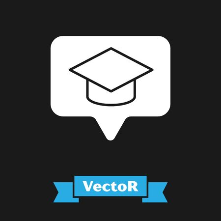 White Graduation cap in speech bubble icon isolated on black background. Graduation hat with tassel icon. Vector Illustration  イラスト・ベクター素材