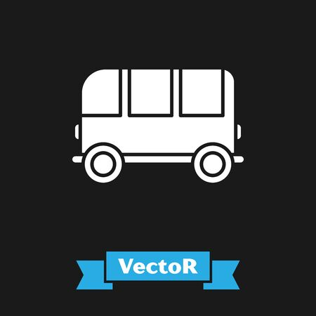 White School Bus icon isolated on black background. Vector Illustration Illustration