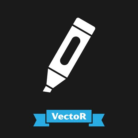 White Marker pen icon isolated on black background. Vector Illustration Illustration