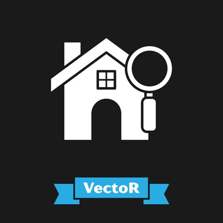 White Search house icon isolated on black background. Real estate symbol of a house under magnifying glass. Vector Illustration