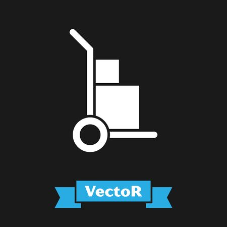White Hand truck and boxes icon isolated on black background. Dolly symbol. Vector Illustration Stock Vector - 133343107