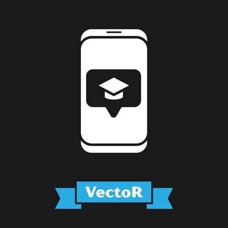 White Graduation cap on screen smartphone icon isolated on black background. Online learning or e-learning concept. Vector Illustration
