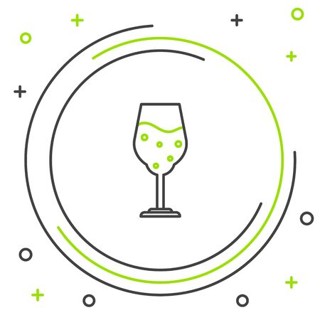 Black and green line Glass of beer icon isolated on white background. Colorful outline concept. Vector Illustration