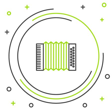 Black and green line Musical instrument accordion icon isolated on white background. Classical bayan, harmonic. Colorful outline concept. Vector Illustration