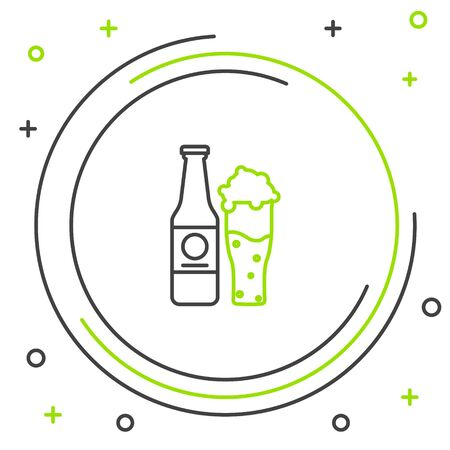 Black and green line Beer bottle and glass icon isolated on white background. Alcohol Drink symbol. Colorful outline concept. Vector Illustration