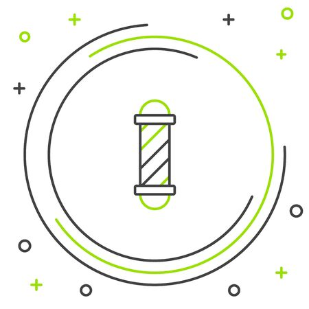 Black and green line Classic Barber shop pole icon isolated on white background. Barbershop pole symbol. Colorful outline concept. Vector Illustration