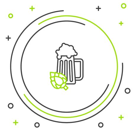 Black and green line Glass of beer and hop icon isolated on white background. Colorful outline concept. Vector Illustration