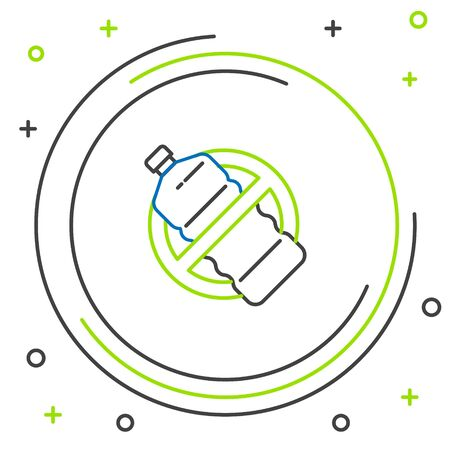 Black and green line No plastic bottle icon isolated on white background. Colorful outline concept. Vector Illustration Stock Illustratie