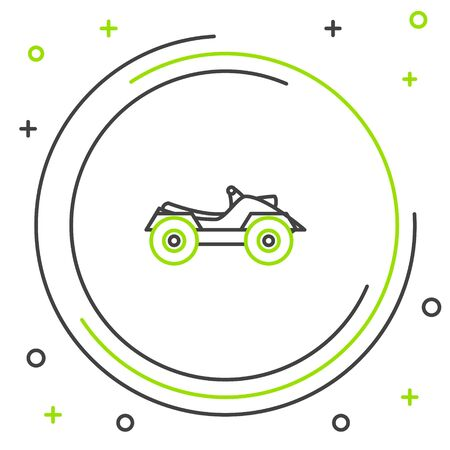 Black and green line All Terrain Vehicle or ATV motorcycle icon isolated on white background. Quad bike. Extreme sport. Colorful outline concept. Vector Illustration Ilustración de vector