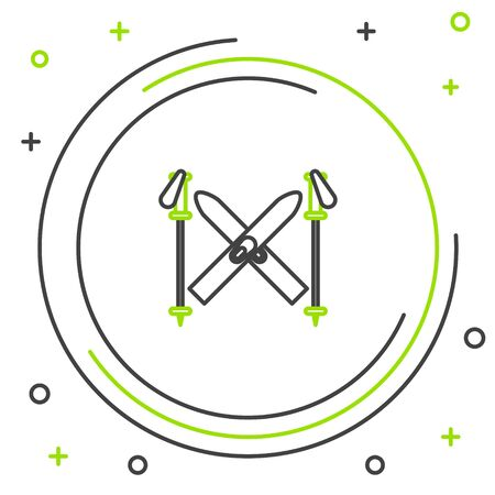 Black and green line Ski and sticks icon isolated on white background. Extreme sport. Skiing equipment. Winter sports icon. Colorful outline concept. Vector Illustration