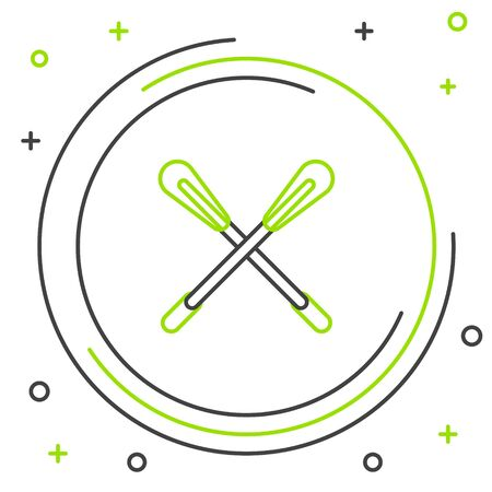 Black and green line Crossed paddle icon isolated on white background. Paddle boat oars. Colorful outline concept. Vector Illustration