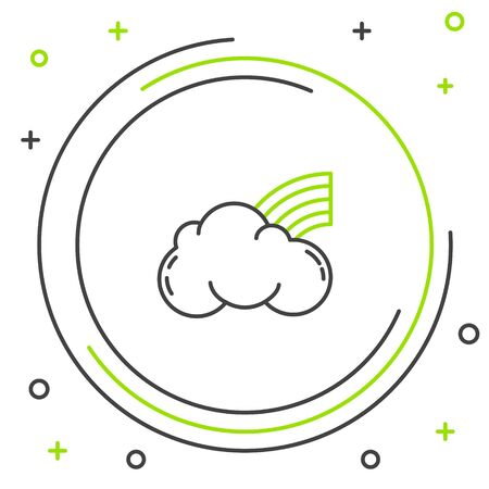 Black and green line Rainbow with clouds icon isolated on white background. Colorful outline concept. Vector Illustration