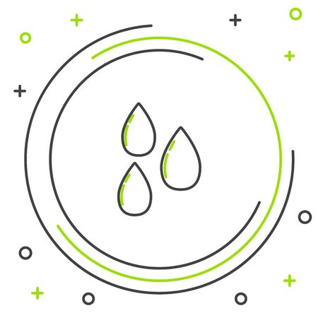Black and green line Water drop icon isolated on white background. Colorful outline concept. Vector Illustration Ilustração