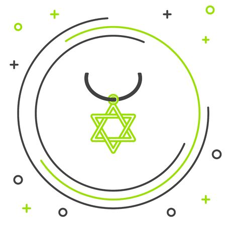 Black and green line Star of David necklace on chain icon isolated on white background. Jewish religion symbol. Symbol of Israel. Jewellery and accessory. Colorful outline concept. Vector Illustration