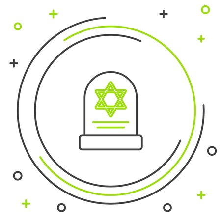 Black and green line Tombstone with star of david icon isolated on white background. Jewish grave stone. Gravestone icon. Colorful outline concept. Vector Illustration