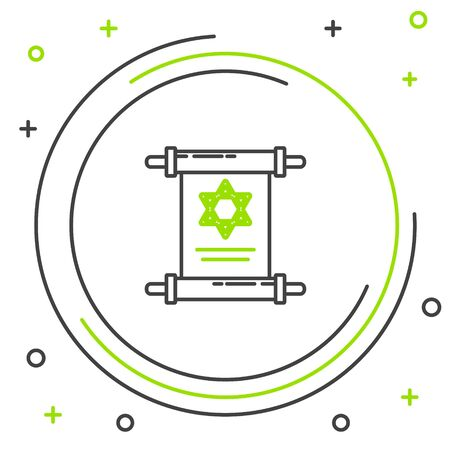 Black and green line Torah scroll icon isolated on white background. Jewish Torah in expanded form. Star of David symbol. Old parchment scroll. Colorful outline concept. Vector Illustration