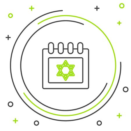 Black and green line Jewish calendar with star of david icon isolated on white background. Hanukkah calendar day. Colorful outline concept. Vector Illustration Çizim