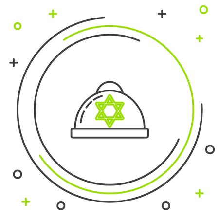 Black and green line Jewish kippah with star of david icon isolated on white background. Jewish yarmulke hat. Colorful outline concept. Vector Illustration Çizim