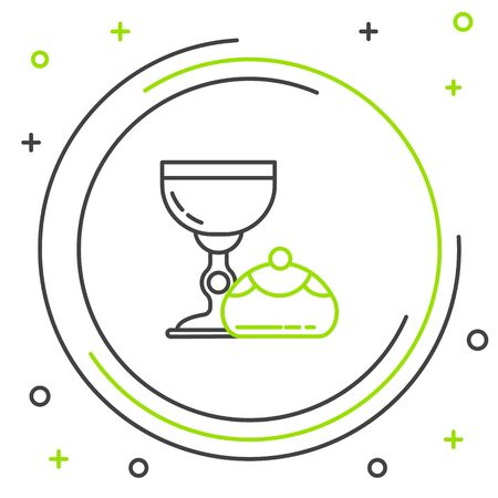 Black and green line Jewish goblet and hanukkah sufganiyot icon isolated on white background. Jewish sweet bakery. Wine cup for kiddush. Colorful outline concept. Vector Illustration