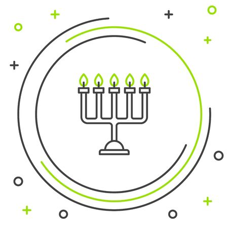 Black and green line Hanukkah menorah icon isolated on white background. Hanukkah traditional symbol. Holiday religion, jewish festival of Lights. Colorful outline concept. Vector Illustration