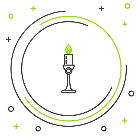 Black and green line Burning candle in candlestick icon on white background. Old fashioned lit candle. Cylindrical candle stick with burning flame. Colorful outline concept. Vector Illustration