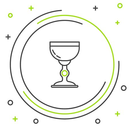 Black and green line Jewish goblet icon isolated on white background. Jewish wine cup for kiddush. Kiddush cup for Shabbat. Colorful outline concept. Vector Illustration