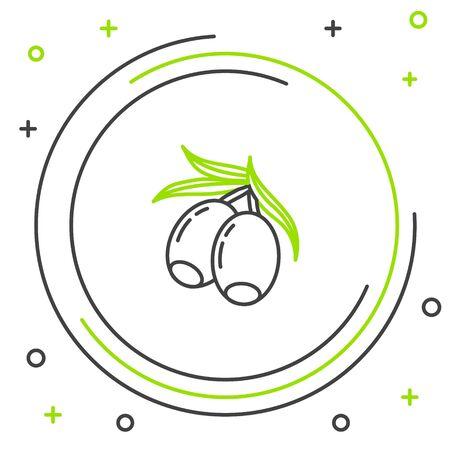 Black and green line Olives branch icon isolated on white background. Colorful outline concept. Vector Illustration Ilustração