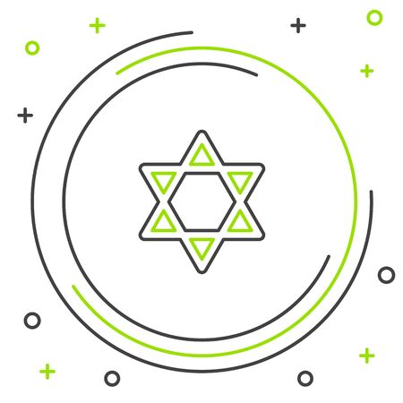Black and green line Star of David icon isolated on white background. Jewish religion symbol. Symbol of Israel. Colorful outline concept. Vector Illustration