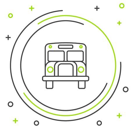 Black and green line School Bus icon isolated on white background. Public transportation symbol. Colorful outline concept. Vector Illustration Illustration