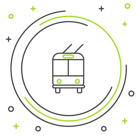 Black and green line Trolleybus icon isolated on white background. Public transportation symbol. Colorful outline concept. Vector Illustration