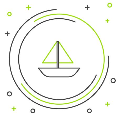 Black and green line Yacht sailboat or sailing ship icon isolated on white background. Sail boat marine cruise travel. Colorful outline concept. Vector Illustration