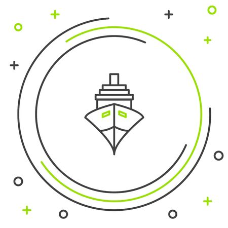 Black and green line Cargo ship icon isolated on white background. Colorful outline concept. Vector Illustration