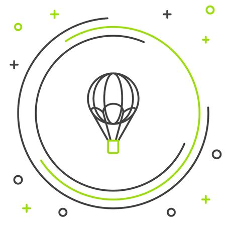 Black and green line Hot air balloon icon isolated on white background. Air transport for travel. Colorful outline concept. Vector Illustration