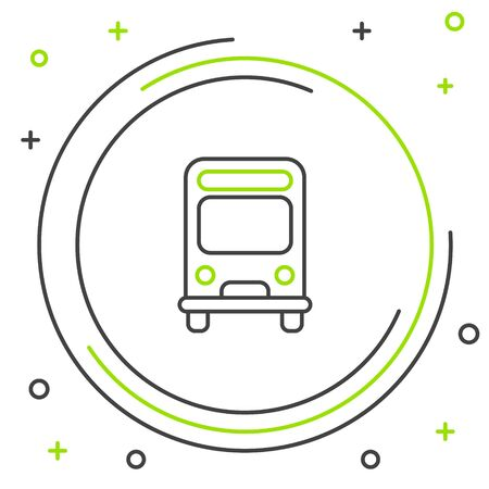Black and green line Bus icon isolated on white background. Transportation concept. Bus tour transport sign. Tourism or public vehicle symbol. Colorful outline concept. Vector Illustration